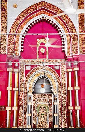 Golden Arch Jama't Khana Mosque Nizamuddin Complex Interior New  stock photo, Golden Arch Jama't Khana Mosque Nizamuddin Complex New Delhi India Grave of the Islamic Sufti Saint Sheikh Hazrat Nizamuddin Auliya, famous Sufti mystic died in 1325  by William Perry