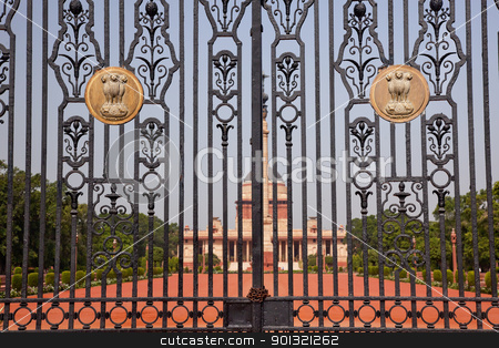 Rashtrapati Bhavan The Iron Gates Official Residence President N stock photo, Rashtrapati Bhavan Gate The Iron Gates Official Residence President New Delhi, India Designed by Edwin Lutyens and completed in 1931 by William Perry
