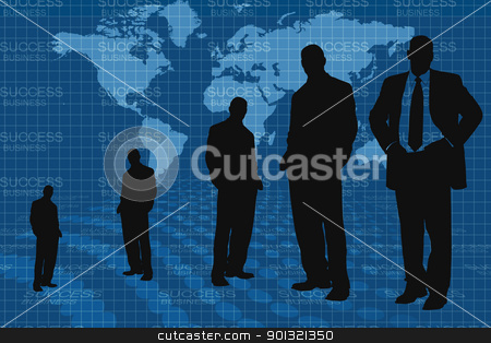 Business people and world map  stock photo, Digital illustration of business people  and world  map by dileep