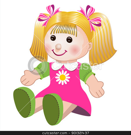 Vector illustration of girl doll stock vector clipart, Blonde girl doll toy in colorful dress on white background by Ela Kwasniewski