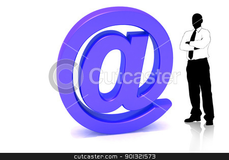 Man with business symbol  stock photo, 	Digital illustration of man and business symbol in isolated background by dileep