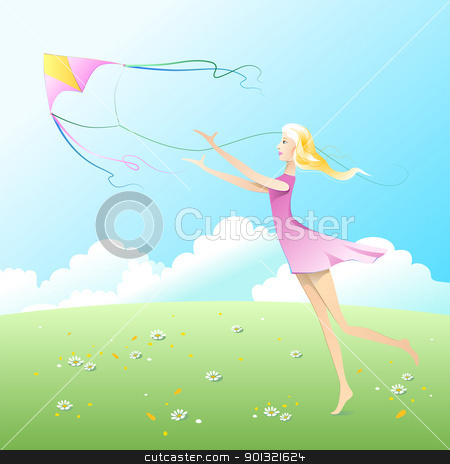 Fly a kite. stock vector clipart, Girl fly a kite. by Oleksiy Fedorov