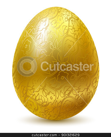 Golden egg. stock vector clipart, Gold egg with floral ornate isolated on white background. by Oleksiy Fedorov