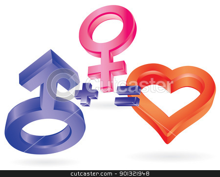 She plus He equal Love stock vector clipart, She plus He equal Love. Symbolic illustration. by antkevyv