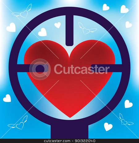 heart in rifle sight stock vector clipart, Heart in rifle sight. Abstract illustration. by antkevyv