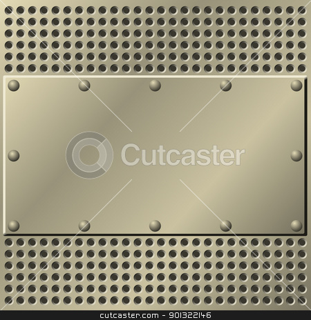 Metal Background stock vector clipart, A Metal Plate Background with Mesh and Rivets by Binkski Art