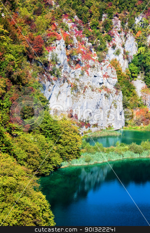 Mountain Landscape stock photo, Scenic fall valley landscape in the mountains of Plitvice Lakes National Park, Croatia by Rognar