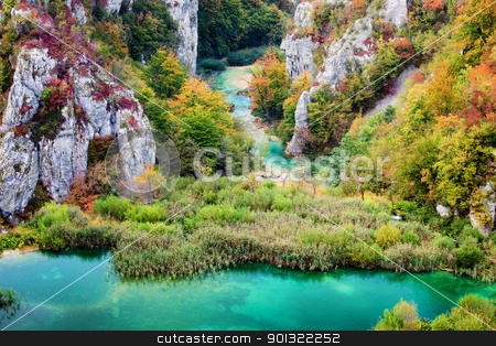 Autumn Valley Landscape stock photo, Scenic autumn valley landscape in the mountains of Plitvice Lakes National Park, Croatia by Rognar