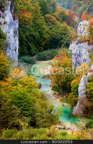 Valley Landscape in Autumn stock photo, Scenic autumn valley landscape in the mountains of Plitvice Lakes National Park, Croatia by Rognar