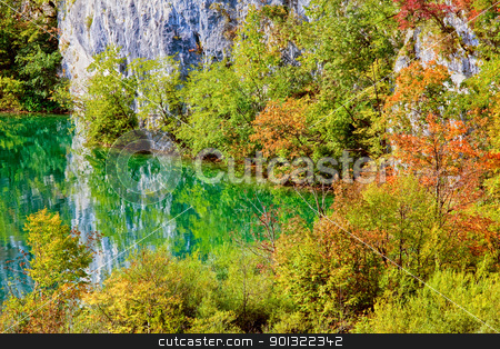 Mountain Lake Scenery stock photo, Lake in picturesque autumn scenery of the mountains by Rognar