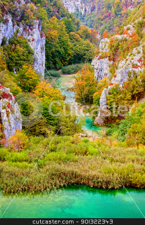 Fall Season in Mountains stock photo, Scenic autumn valley landscape in the mountains of Plitvice Lakes National Park, Croatia by Rognar