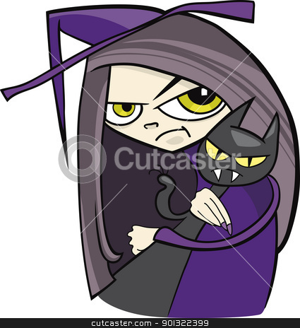 cartoon witch stock vector clipart, cartoon illustration of funny witch with black cat by Igor Zakowski