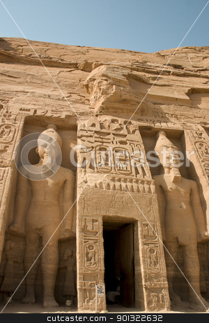 Abu Simbel Temple stock photo, The entrance to a temple within the ruins at Abu Simbel by Darcy Michaelchuk