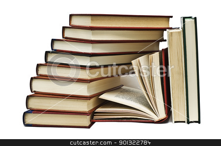 Eleven books. stock photo, OLd books isolated over a white background. by angelsimon