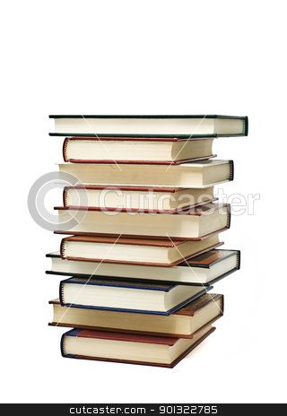 Ten books. stock photo, OLd books isolated over a white background. by angelsimon