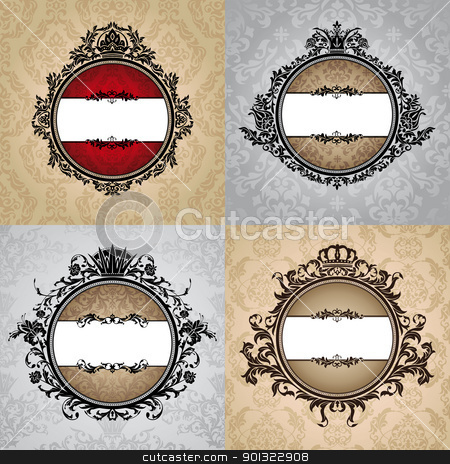 set of royal vintage frames stock vector clipart, set of abstract vector royal vintage frames by SelenaMay