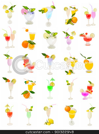 collection of cocktail stock photo, varied collection of cocktail isolated on white background  by luiscar