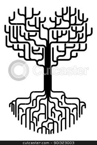 Abstract heart tree silhouette stock vector clipart, Conceptual abstract tree silhouette illustration. Tree with branches in the shape of a heart with strong roots. Love needing strong foundations or just concept for love. by Christos Georghiou