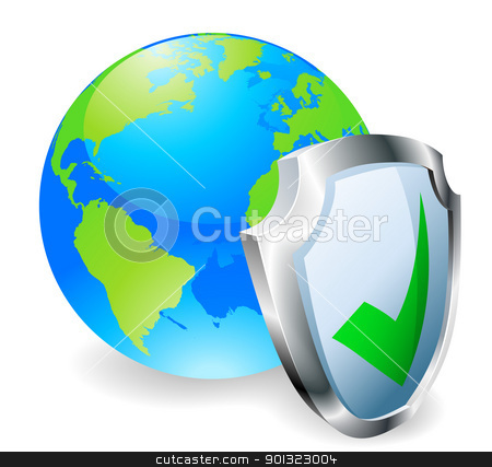 Internet security concept stock vector clipart, Globe with shield icon with green tick. Concept for internet security or antivirus or firewall etc. by Christos Georghiou