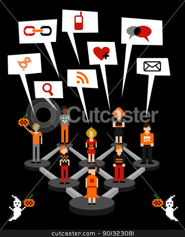 Social network connection diagram in Halloween stock vector clipart, Web social relationship diagram showing people connected in Halloween seasonal. by Cienpies Design