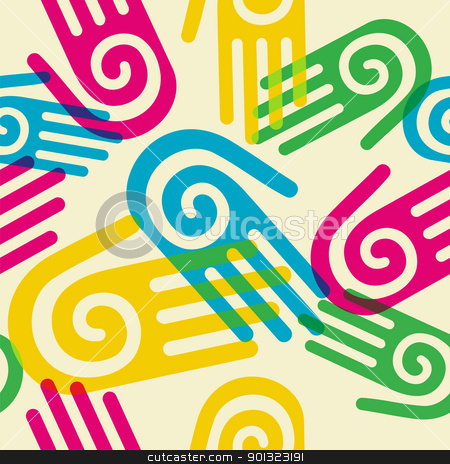 Colorful Pattern hands with spiral symbol stock vector clipart, Pattern hands with a spiral symbol on the palm. Vector available by Cienpies Design