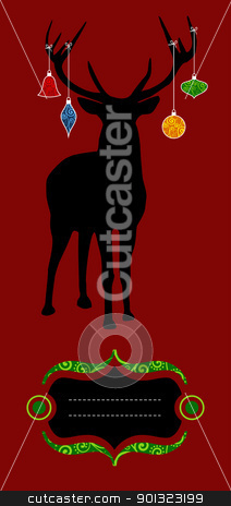 Christmas reindeer silhouette greeting card stock vector clipart, Christmas reindeer silhouette with decorations hanged from its antlers over red background. Ready for use as xmas card. by Cienpies Design