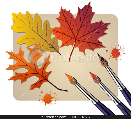 Brushes with autumn colors stock vector clipart, Three brushes painting the autumn leaves. Vector available by Cienpies Design