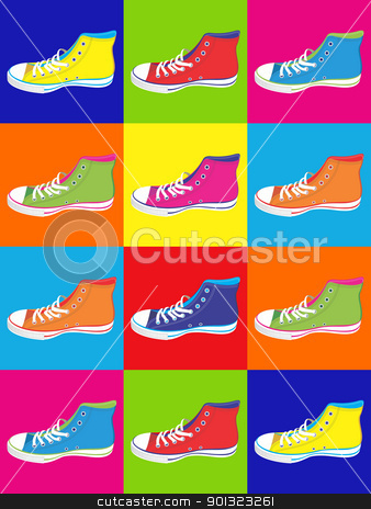 Teenager sneakers background stock vector clipart, Colorful sneakers on differentes colors background. Vector available by Cienpies Design