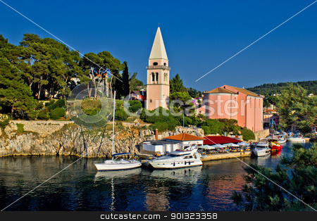 Veli losinj panoramic - church & safe harbour stock photo, Veli losinj panoramic - church & safe harbour view - tourist paradise by xbrchx