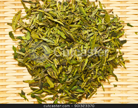 chinese tea leaves stock photo, dried chinese tea leaves by zkruger