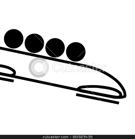 Bobsleigh team sign stock photo, Black silhouetted bobsleigh team sign or symbol; isolated on white background. by Martin Crowdy