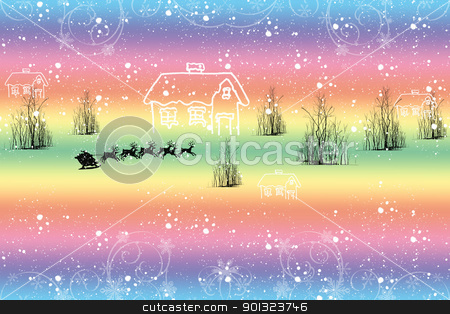 Winter landscape stock vector clipart, Colorful winter landscape with snowflakes and trees by Ingvar Bjork