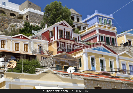 colorful houses stock photo, Traditional greek colorful houses in symi island by Ingvar Bjork