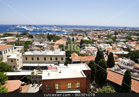 Beautiful view of Rhodes Old Town. stock photo, Beautiful view of Rhodes Old Town.  by Sasas Design