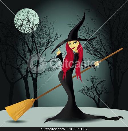 Halloween witch stock vector clipart, Halloween witch with trees and moon in a background vector illustration by aos1212