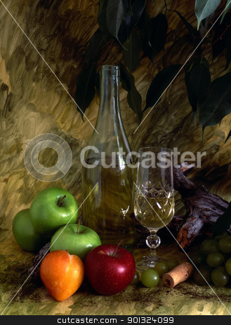 White wine and fruist stock photo, White wine apples and grapes isolated on painted background by Sasas Design