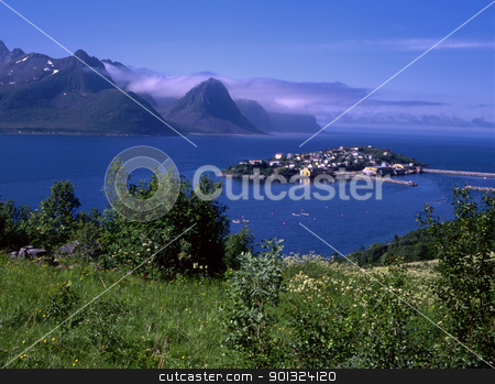 View of ocean fjord with small island  stock photo, Beautiful view of ocean fjord with small island in Norway by Ingvar Bjork
