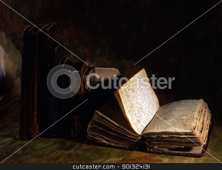 Stack of old books  stock photo, Stack of old books isolated on painted background  by Ingvar Bjork