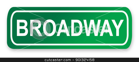 Broadway street sign stock photo, Broadway street sign; isolated on white background, New York City, America. by Martin Crowdy