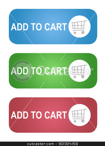 Add to shopping cart buttons stock photo, Set of Add to shopping cart buttons; isolated on white background. by Martin Crowdy