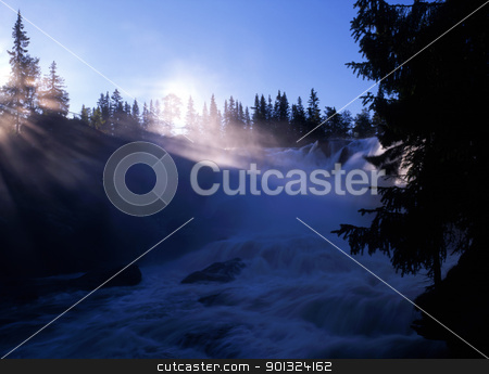 Mountain waterfall in sunshine stock photo, Beautiful mountain waterfall in sunshine by Ingvar Bjork