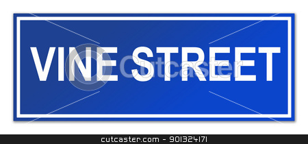 Vine Street street sign stock photo, Vine Street sign isolated on white background with copy space. by Martin Crowdy