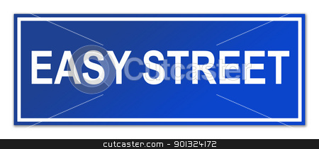 Easy street sign stock photo, Easy street sign isolated on white background with copy space. by Martin Crowdy