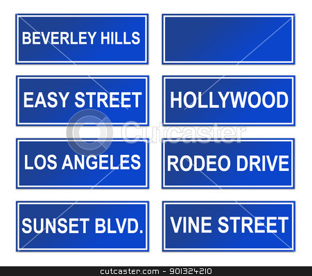 Set of Los Angeles street signs stock photo, Set of famous Los Angeles street or road signs; isolated in white background. by Martin Crowdy