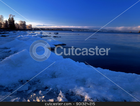 Winter landscape  stock photo, Clear blue sky and frozen lake  by Sasas Design