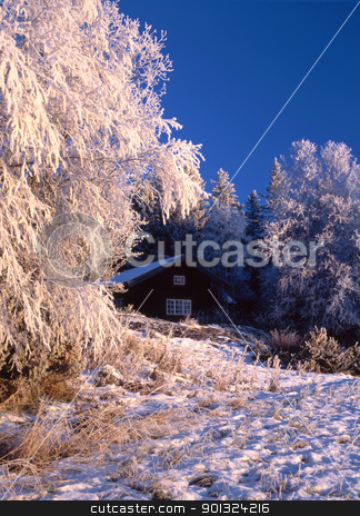 Wintry cottage  stock photo, Beautiful winter landscape with Wintry cottage   by Ingvar Bjork