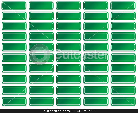Blank green street signs stock photo, Set of blank green road or street signs; isolated on white background. by Martin Crowdy