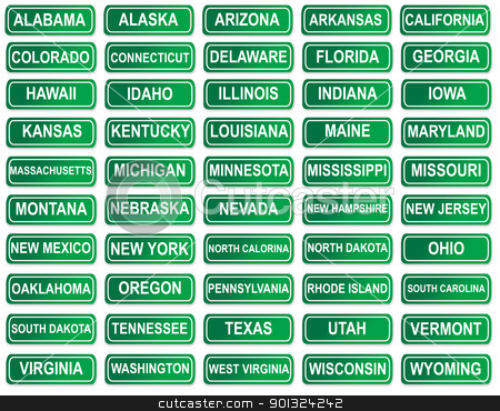 Set of American State signs stock photo, Complete set of American State signs. isolated on white background. by Martin Crowdy