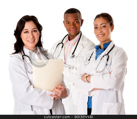 Happy smiling doctor physician team stock photo, Happy smiling doctor physician nurse medical team standing together, isolated. by Paul Hakimata
