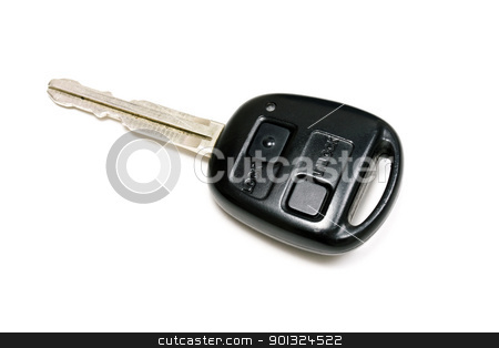 Car key stock photo, A car key isolated on white. by Ingvar Bjork